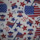 FQ Americana Stars & Stripes Map Flag Bell on White Fabric by Oakhurst Textiles Fat Quarter