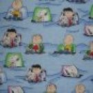 FQ Peanuts Charlie Brown Snoopy Slumber Party on Blue Cotton Flannel Fabric Fat Quarter