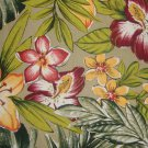 "Tropical Yellow Red Floral Lily & Fern on Sage Green 52"" wide Home Decor Fabric 2 3/8+ Yard Remnant"