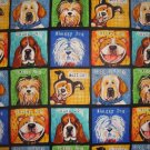 Robert Kaufman Whiskers and Tails Dog Squares 2 7/8 Yard Cotton Quilt Fabric Remnant