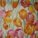 Pink & Orange Tulips on Cream Cotton Quilt Fabric 1 7/8+ Yard Remnant