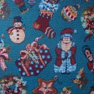 Bolt End Peter Pan Christmas Memories Tapestry-Look Toss on Turquoise Quilting Fabric