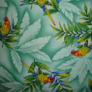 BTY Parrots Birds on Tropical Tonal Green Cotton Quilt Fabric By the Yard