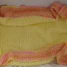 Handmade Pink & Yellow Soft Knit Crib Blanket Swaddling Wrap for a Special Baby Girl