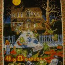 Mr Hob Goblin's Pumpkin Patch Haunted House Halloween Wall Hanging Fabric Panel by Maywood Studios