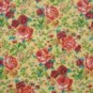 FQ Orange Red Gold Flowers on Retro Yellow Fabric Fat Quarter