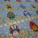 BTY Bunny Hop Easter Eggs Basket Daisies Kids Cotton Fabric by Whole Country Caboodle By the Yard