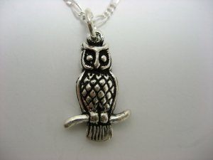Adorable Sterling Owl Necklace