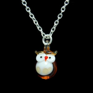Happy Owl Lampwork Glass Pendand Necklace