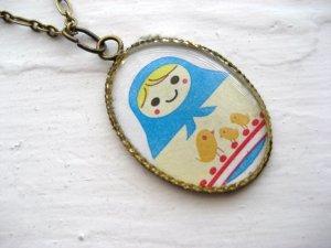 Matryona the Russian Bird Lover Matryoshka Doll Necklace