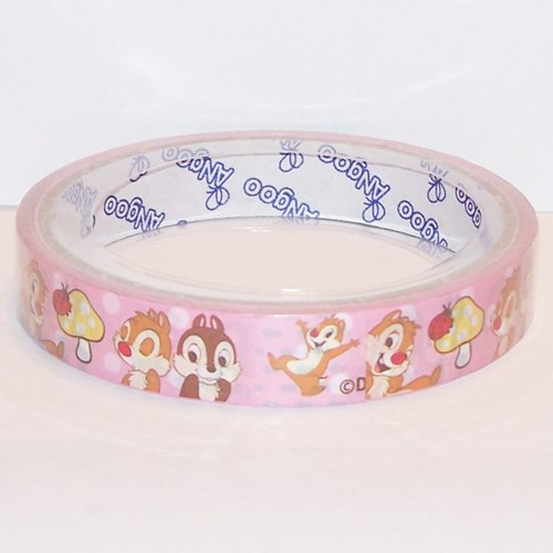 Chip 'n Dale Deco Tape #1 Pink w/ Polka Dots & Large Mushrooms Kawaii