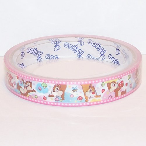 Chip 'n Dale Deco Tape #2 Pink & White w/ Mini Mushrooms Kawaii