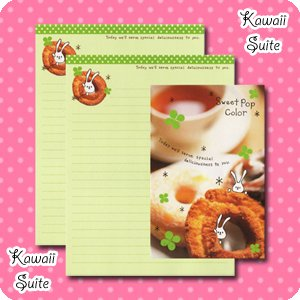 Sweet Pop Color *Coffee & Donuts* Letter Set by Kamio Japan - bunny, kawaii