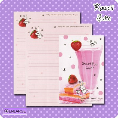 Sweet Pop Color *Strawberry Milkshake* Letter Set by Kamio Japan - Strawberries, cake, bunny, kawaii