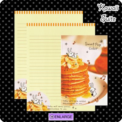 Sweet Pop Color *Banana Pancakes* Letter Set by Kamio Japan - breakfast, syrup, bunny, kawaii