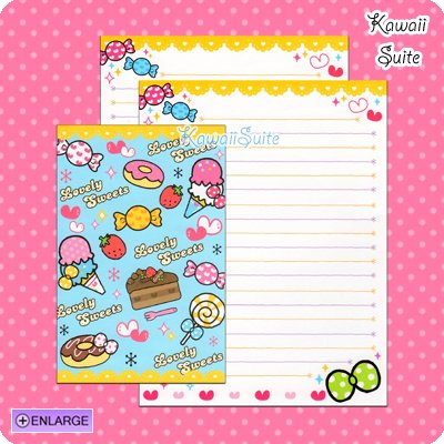 Lovely Sweets Letter Set C *Mini Ice Creams, Candies & Cake* by Kamio Japan Kawaii