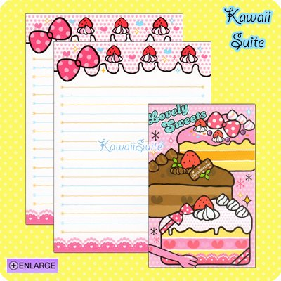Lovely Sweets Letter Set A *Strawberry, Vanilla, & Chocolate Cakes* by Kamio Japan Kawaii