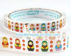 Matryoshka Dolls Deco Tape - Kawaii (White)