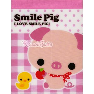 Q-Lia *Smile Pig* Mini Memo Pad Kawaii Cute Pink Pigs Chicks Birds Apples