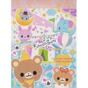 Q-Lia *Bears Circus* Mini Memo Pad Kawaii Bear, Elephant, Mouse, Bunny
