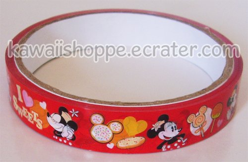 "Disney ""I Heart Sweets"" Minnie Mouse Deco Tape - Lollipops Candies Cookies Cupcakes"