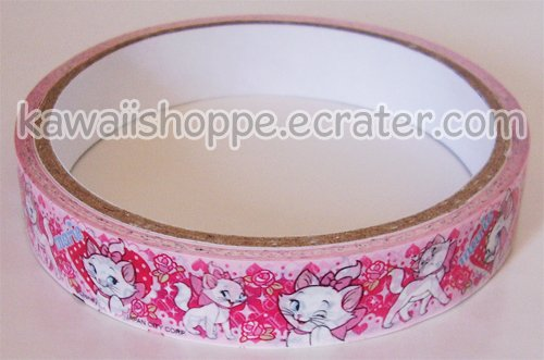 Disney Marie Cat Deco Tape - The Aristocats, Hearts & Roses