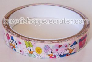 Disney Donald Duck Deco Tape #1 White w/ Pink Red Hearts