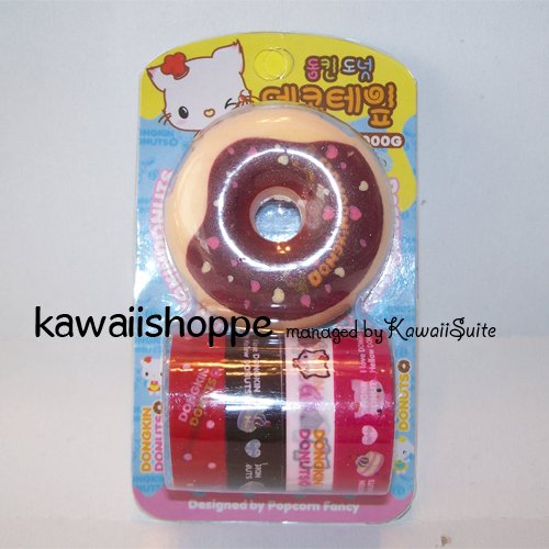 (C1) Kawaii Dongkin Donuts 4 Deco Tapes 1 Tape Dispenser