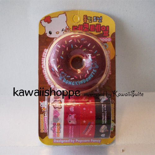(C2) Kawaii Dongkin Donuts 4 Deco Tapes 1 Tape Dispenser