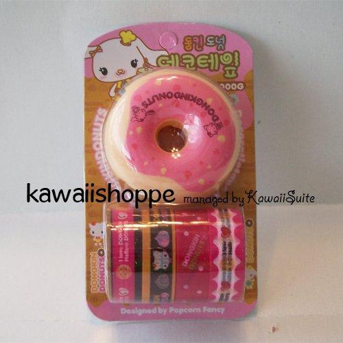 (S2) Kawaii Dongkin Donuts 4 Deco Tapes 1 Tape Dispenser