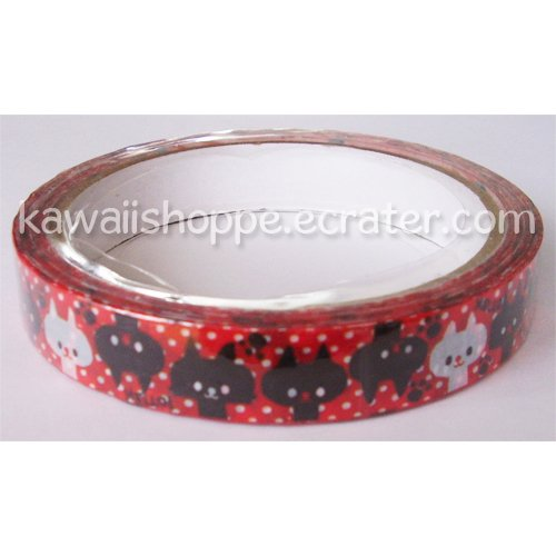 *Black & White Cats on Red* Deco Tape - Kawaii