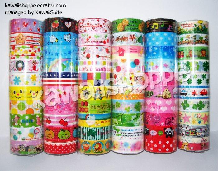 Wholesale Deco Tape 60 Rolls Music Anime Girls Clovers Food Strawberries Cherries Kawaii