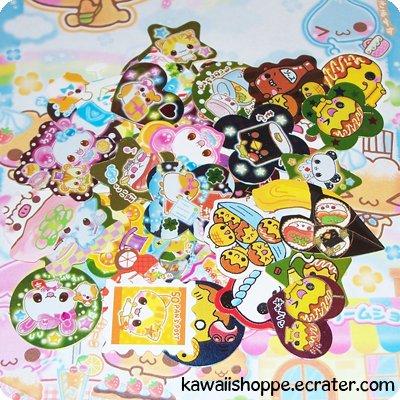 50 Sticker Flakes from Japanese Sticker Sacks (Lot C)