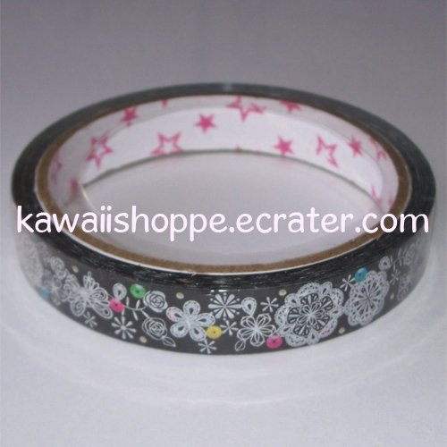 Mind Wave Icy Black Snowflake Flower Deco Tape - Kawaii