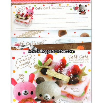 Kamio Japan *Cafe Cafe* Letter Set Kawaii Bunny Bear Cake Desserts Sweets