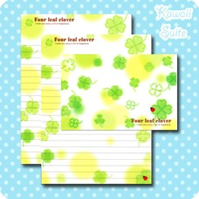 Four Leaf Clover Letter Set Kawaii