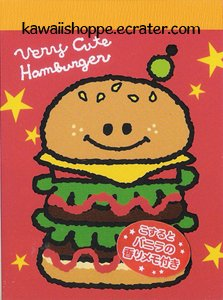 Kamio Japan Very Cute Hamburger Mini Memo Pad - Kawaii Burger Fast Foods