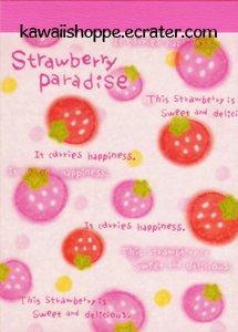 CRUX Strawberry Paradise Mini Memo Pad Kawaii Strawberries Sweet Delicious
