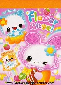 Kamio Japan *Flower Angel* Mini Memo Pad Kawaii Bubbles Clouds Stars Rainbows Drops Rain
