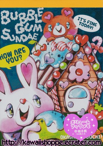 Q-Lia Bubble Gum Sundae Memo Pad Kawaii Stationery Gingerbread House Candies Sweets