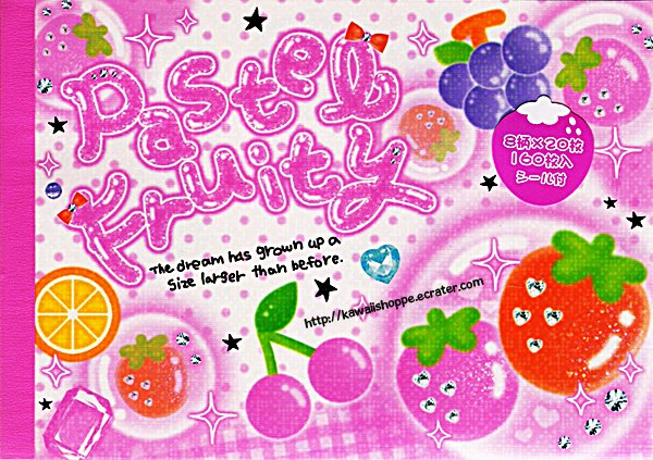 CRUX Pastel Fruity Memo Pad Kawaii Stationery Sweets Strawberries Fruits