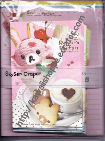 Kamio Japan Skyser Craper Rabbit's Parfait Letter Set kawaii Ice Cream Cookies Coffee Latte