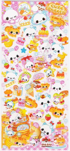 CRUX Cute Sweets Squirrel & Bunny Sticker Sheet - Kawaii Stickers