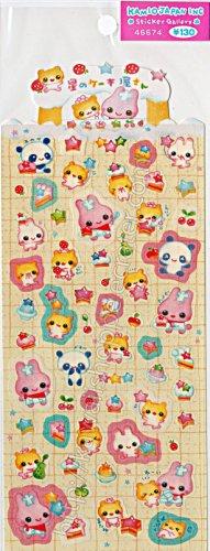 Kamio Japan Animal Party Sticker Sheet - Kawaii Stickers Rainbow Colorful
