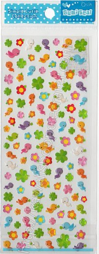 Q-lia Lucky Clover and Birds Sticker Sheet - Kawaii Stickers