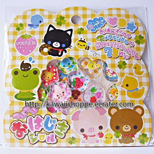 Q-lia Smile Pocket PVC Sticker Sack Kawaii Stickers Pig Cat Bear Frog Fruity
