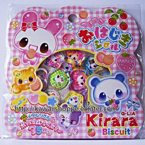 Q-lia Kirara Biscuit PVC Sticker Sack Kawaii Stickers Buuny Squirrel Bear Fruity