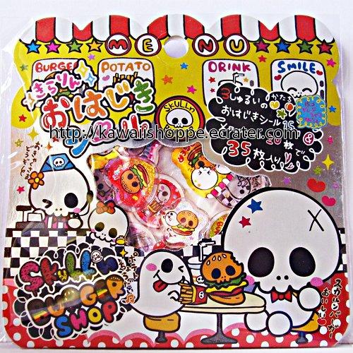 Pool Cool Skull's Burger Shop PVC Sticker Sack Kawaii Stickers Skulls Halloween Hamburger