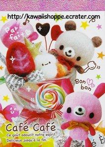 Kamio Japan Cafe Cafe Mini Memo Pad - Kawaii lollipops bears