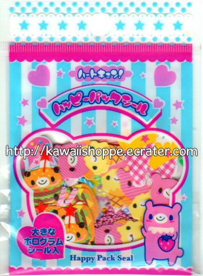 Happy Pack Seals Cute Bear Desserts Sticker Sack - Kawaii lollipops ice cream bears